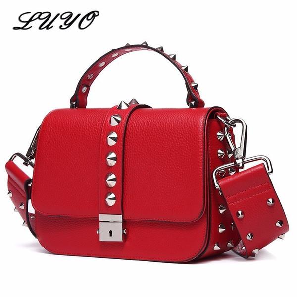 Genuine Leather Rivet Woman Famous Brands Messenger Bag Female Luxury Handbags Women Bags Designer Bolsos Mujer High Quality