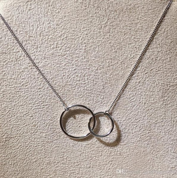 Classical Infinity Double Circle PendantLuxury Jewelry Soild 100% 925 Sterling Silver Eternity Party Clavicle Chain Necklace For Women Gift