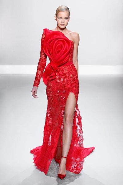 New Design Zuhair Murad Evening Dresses Mermaid Lace One Long Sleeve Split Side Red Formal Gowns Vestido De Festa Longo 2018