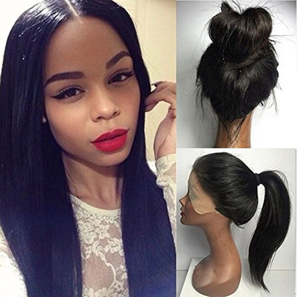 ZhiFan 8-22 inch Hand Hook Indian Hair Human Hair Wigs Front Lace Wig For Black Women Black Straight Hair