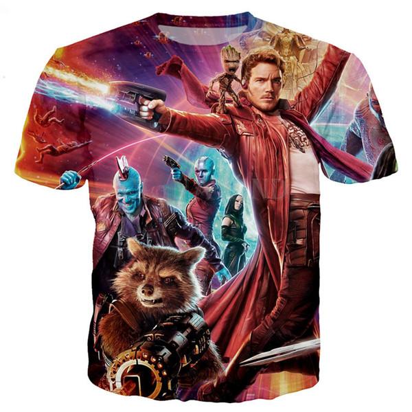 Guardiões da Galáxia Das Mulheres Dos Homens de Moda de Nova Verão Unisex Engraçado 3d Impressão Crewneck Casual T Shirt Tops Tee Q86