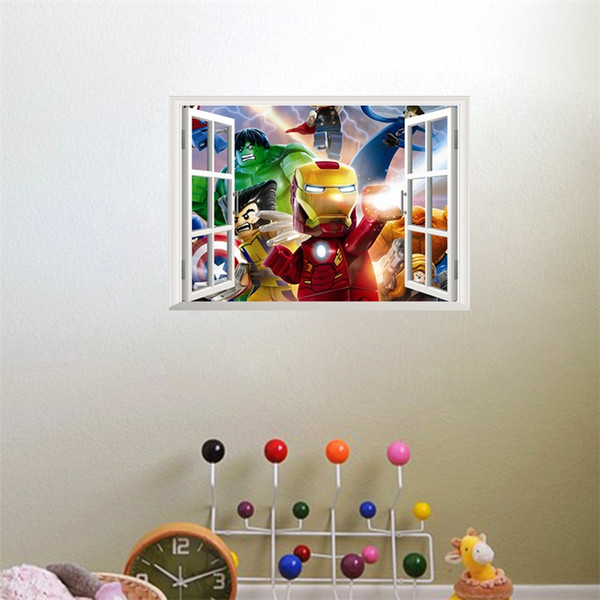 3D Water Proof Art Wall Sticker Removable False Window Pattern Childrens Room Wallpaper Background Home Decor Cartoon Stickers 7ly jj