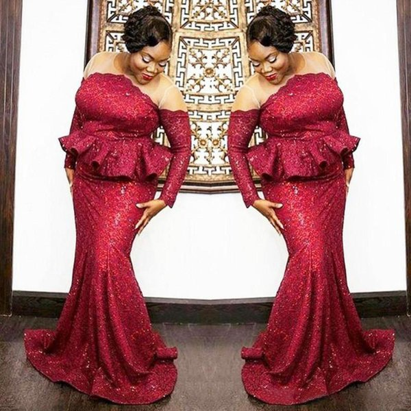 Stunning Dark Red Peplum Mermaid Evening Dresses Plus Size Sequins Long  Sleeves Prom Dresses South African Party Gowns Long Formal Gown 2020 Plus  Size ...