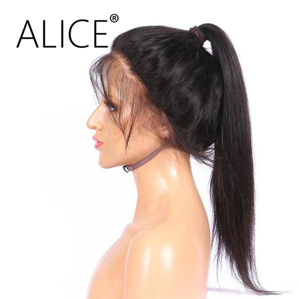 ALICE 360 Парик Фронта Шнурка С Волосами Младенца Реми Шелковистая Прямая Glueless Бразильские Человеческие Волосы Парики 360 Для Чернокожих Женщин 10-22 Дюймов
