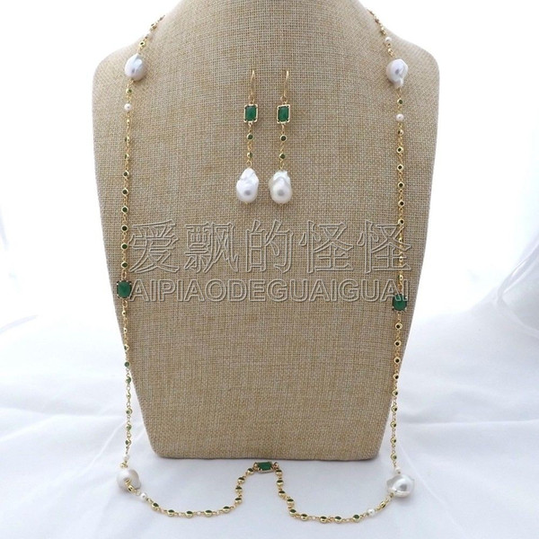"""S112601 43"""" White Keshi Pearl Green Crystal Chain Necklace Earrings Set"""
