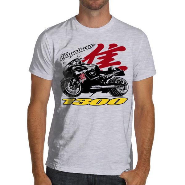 HAYABUSA Racing camiseta de la motocicleta Algodón suave blanco o gris 1300 Gsxr Suzuki 3D T Shirt Hombres Tallas grandes de algodón Tops Camiseta