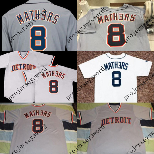 2018 Eminem Detroit Jersey 8 Marshall Mathers Baseball Jerseys 100% Stitched Embroidery Logos Custom Baseball Jerseys White Grey