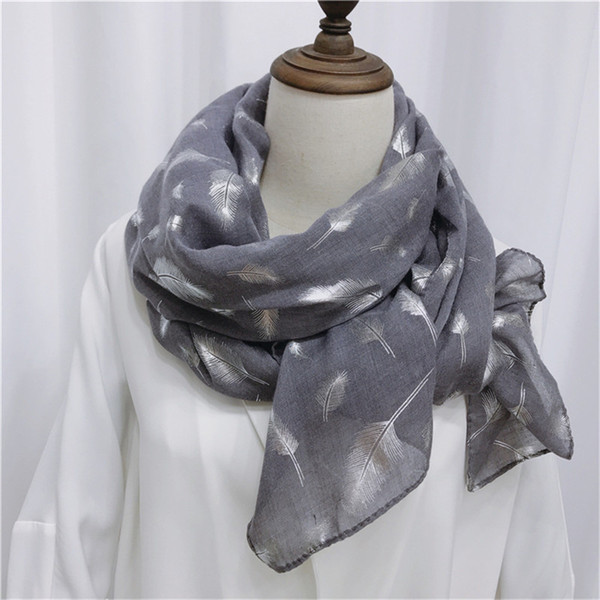 Free Shipping New spring silk scarves shawl long soft cotton autumn warm elegant feather scarf female Women's Hot silver scarves