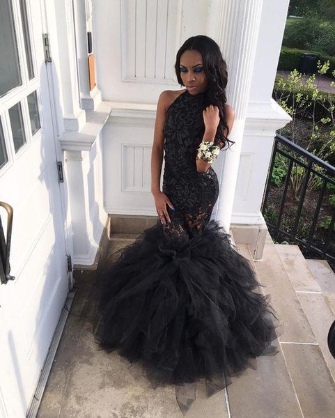 Sexy Black Mermaid Prom Dresses 2018 New Halter Neck Tull Lace Illusion Sleeveless Long Formal Evening Dress Party Gowns Custom Made