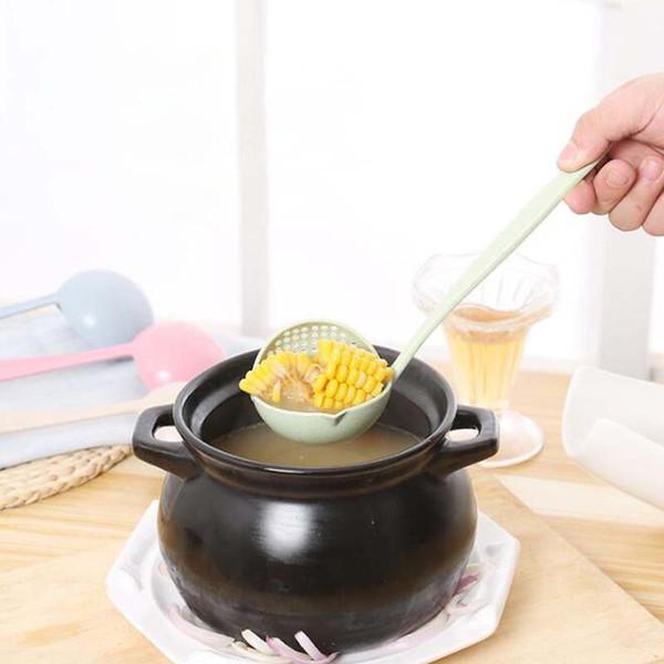 2 In 1 Hot Pot Geschirr Porridge Suppe Löffel Mit Küche Lange Griff Colander
