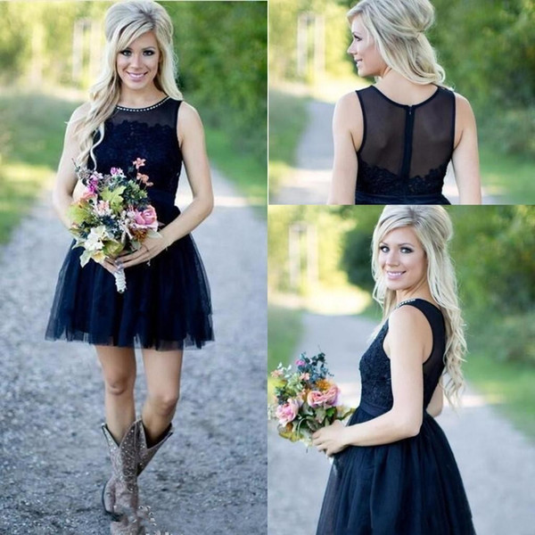 New Navy Blue Tulle Short Country Bridesmaid Dresses Lace Applique Beaded Wedding Bridal Guest Party Maid Of Honor Dresses BA9885