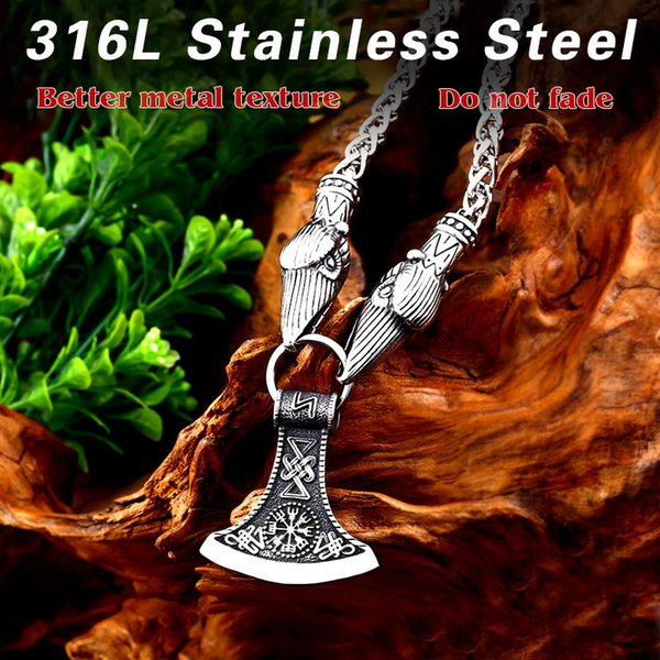 Beier 316L stainless steel Odin's Ravens and serpent Thor's Hammer Mjolnir Scandinavian Axe Wolf pendant necklace jewelry LP008