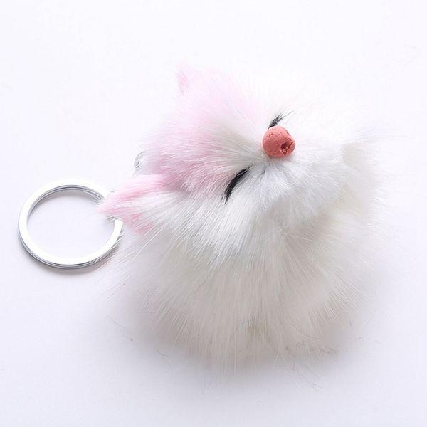 8*12CM Cute Kitten Fur PomPom KeyChain Rabbit Hair Bulb Bag Pom Pom Ball Key Chain Pendant For Women