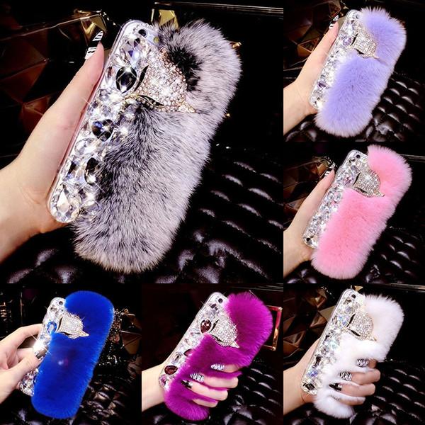 Rabbit Hair Fur Fox Bling Diamond Rhinestone TPU Case Soft Touch Warm Cover For iPhone XS Max XR X 8 7 6 Plus Samsung Galaxy Note 9 S9 S8