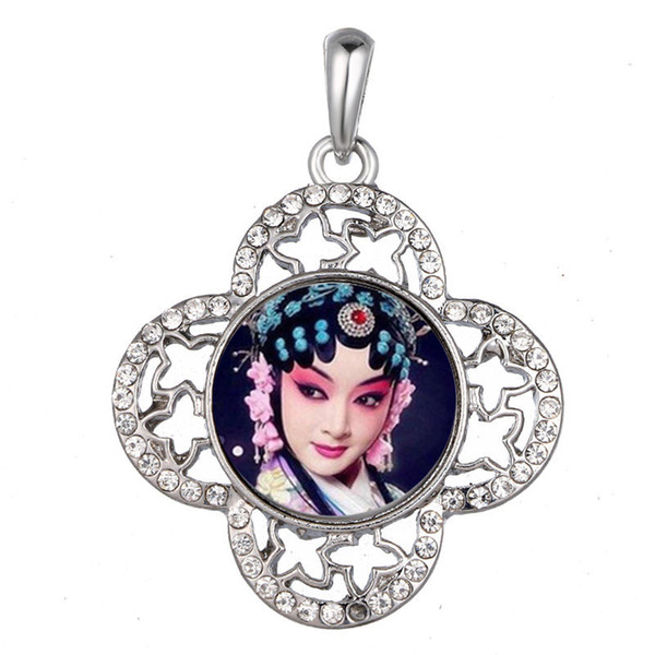 dye sublimation button necklaces pendants fashion flower necklace pendant with zircon for woman heat transfer diy blank consumables