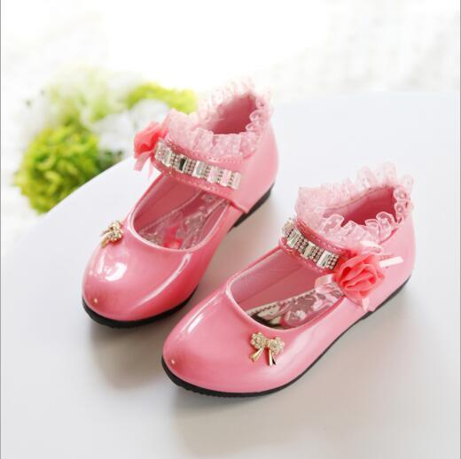 Girls casual leather shoes2018 spring PU Rhinestone Rose flower princess party elegant wedding shoes for girls flat kids shoes