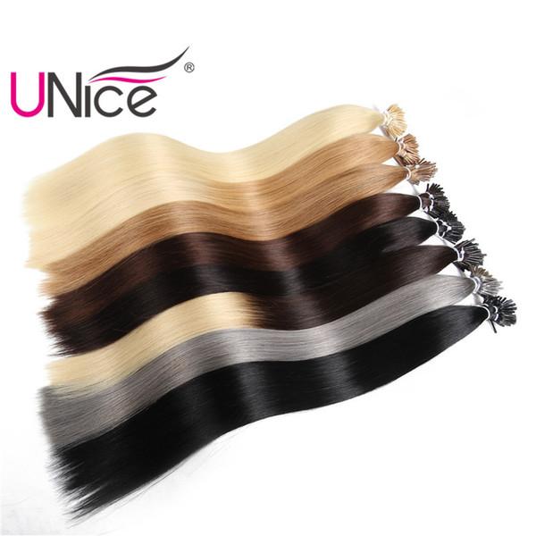 Unice pelo al por mayor remy pegamento Stick Sugerencia 100% extensiones de cabello humano brasileño barato agradable recto Natural 18-24 pulgadas a granel trama del pelo