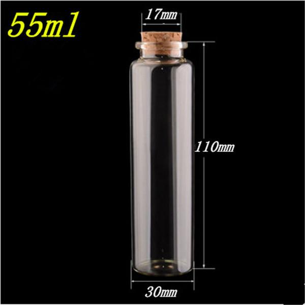 50pcs 30x110x17mm 55 ml Bottiglie Mestieri decorativi vasi di vetro Cancella bottiglie di vetro trasparente con tappo in sughero reagente chimico bottiglie
