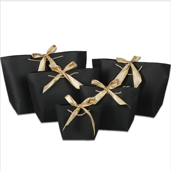 21x7x17cm Colorful Paper Bag With Handle Cute Bow Ribbon Black Gift Bag For Christmas Party