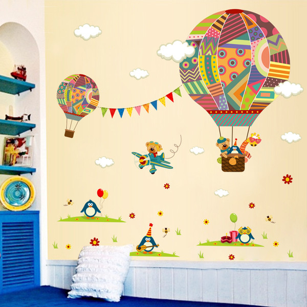 DIY White-Cloud Hot Air Balloon Wall Stickers Cartoon Animals Wall Decals Colorful Patterns Wallpaper for Kids Room and Nursery Decoration
