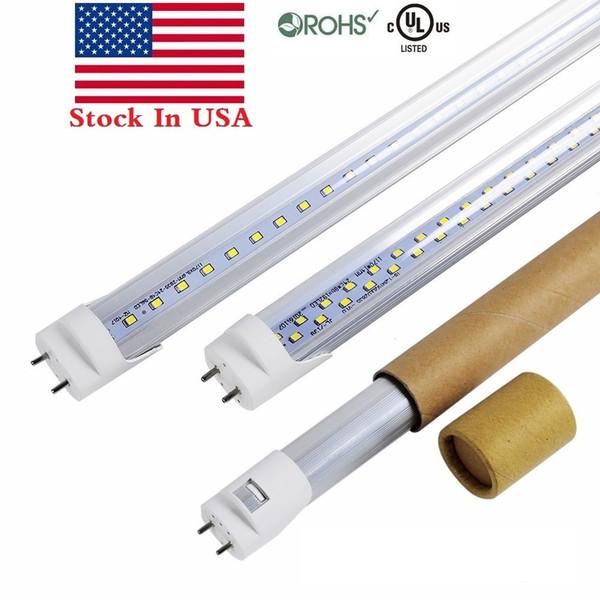 Фондовая В США + Двухсторонние 4FT T8 Светодиодные трубки Свет 18W 22W 28W Bi-Pin T8 Светодиодные трубки Blubs Лампа заменить обычную лампу AC 110-240V UL FCC