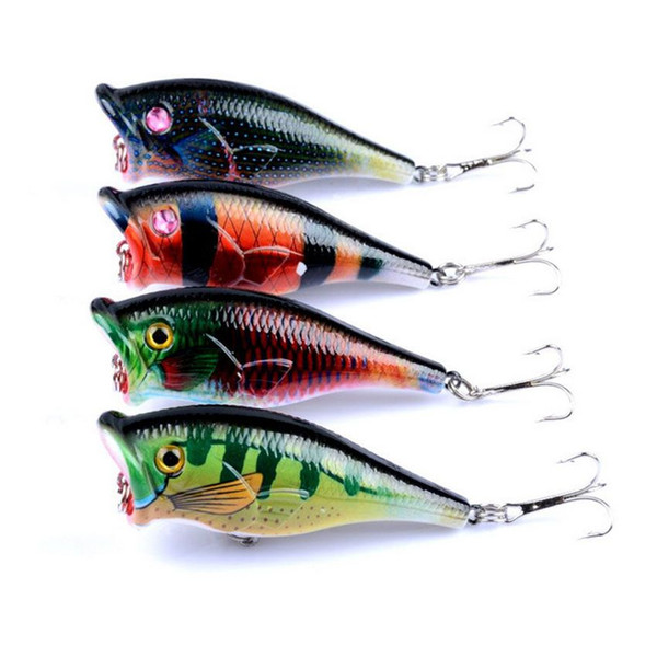 4 Pcs/lot Topwater Floating Sea Bass Crankbait Lure Poper Fishing Lures Hooks Bait 6.5cm 6.6g pesca minnow PS Painted Plastic baitfish