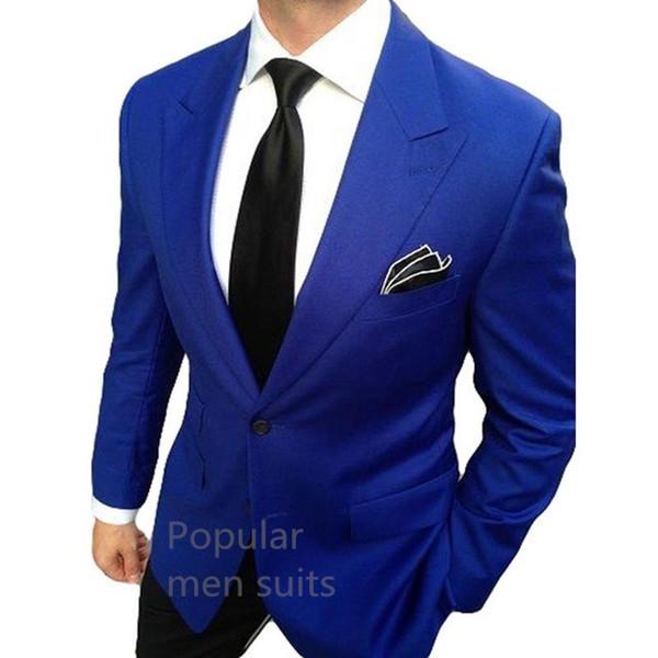 Nuovo arrivo Una soluzione su misura Royal Blue Best Men Suit Slim Fit Abiti da sposa per il Mens smoking dello sposo di affari 2pcs (giacca + Pants + tie)
