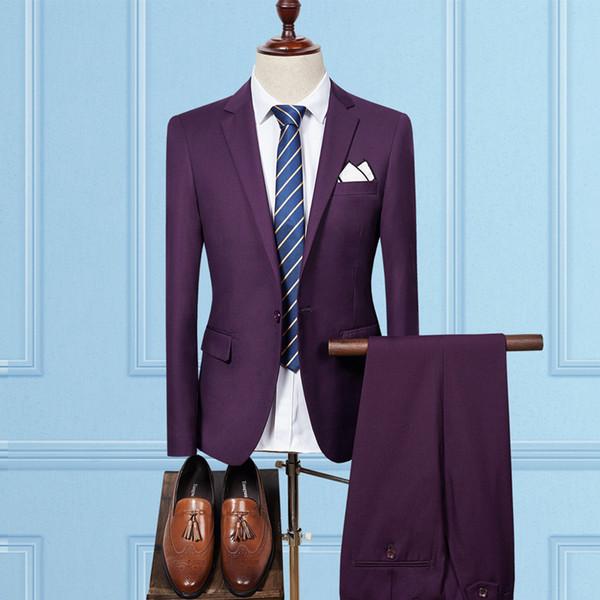 (Jacket+Pant) Chest Towel Suit Men 2017 New Formal Men Business Dress Suits Slim Fit Plus Size 3XL Tuxedo Groom Wedding Suit