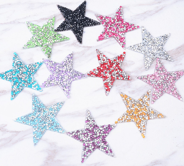 25pcs/lot star 6cm design Hotfix rhinestones Motifs Iron on Patches heat transfer Motif crystal strass Applique for clothing craft