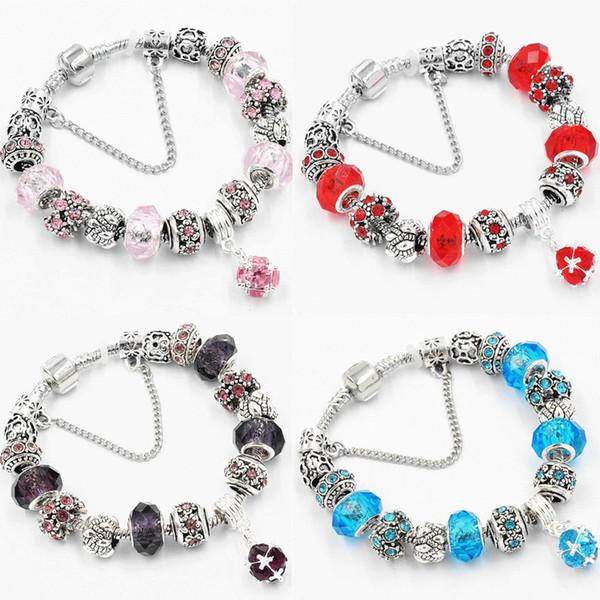 6 colores de plata antigua original de las mujeres de cristal pulsera del encanto del brazalete de la pulsera del encanto regalo de Navidad envío gratis D609S