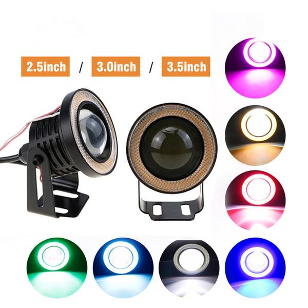 "2.5/3/3.5"" Car LED Fog Light Projector White COB Angel Eyes Halo Ring DRL Driving Bulbs"