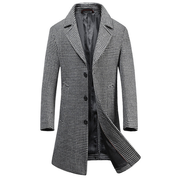 Brand Men Plaid Double-Breasted Wool Coat 2018 Winter Thick Warm Luxury Business Casual Men's Slim Jacket Coat gray Size M-3XL