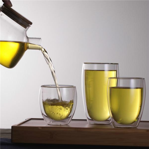 250 мл/350 мл / 450 мл двойной стены термостойкость стеклянная чашка двойной стены фруктовый сок кофе кружка прозрачные чашки чая