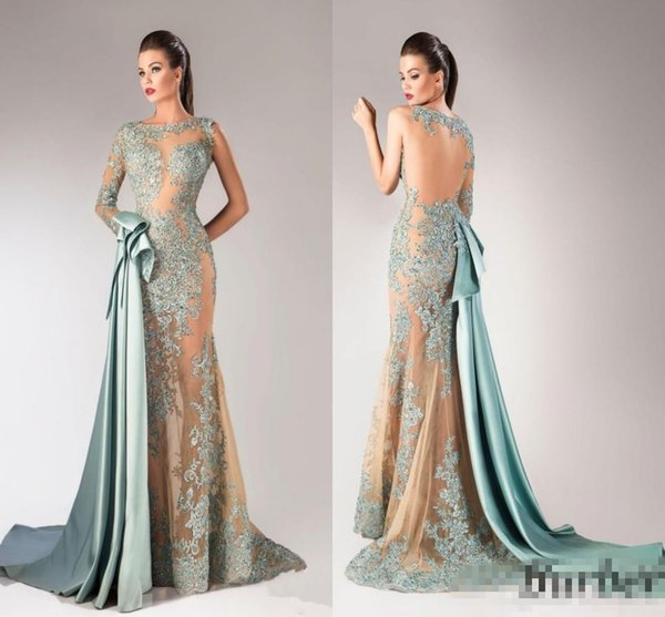 Latest Design One Shoulder Prom Dresses Beaded Draped Trumpet Style Lace Evening Gowns Sheer Sexy Asymmetrical Satin Sage Party Dresses
