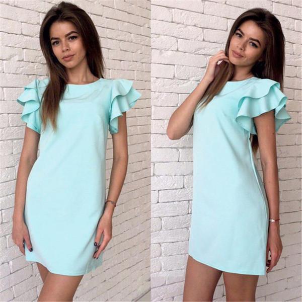 Sommerkleid 2018 Frauen Schmetterlingshülse Freizeitkleid Sexy Vintage Backless Beach Mini Party Kleider Rot Blau Gelb Sommerkleid
