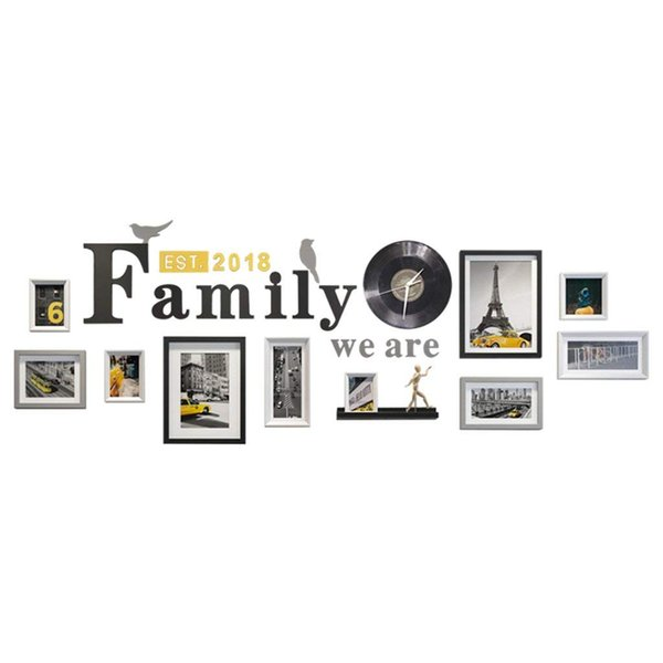 10 Piece Mixed Colors Photo Frame Wall Gallery Kit Includes: Frames,Hanging Wall Template,painting Core ( Color : Black+white+gray )