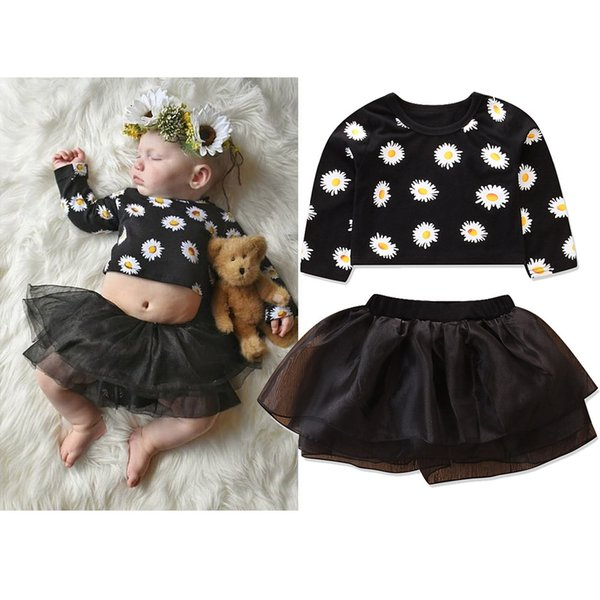 9d9e1fa2c597 Baby Girl Clothes Infant Toddler Girls Clothing Set Long Sleeve Daisy Print Crop  Tops + Tutu