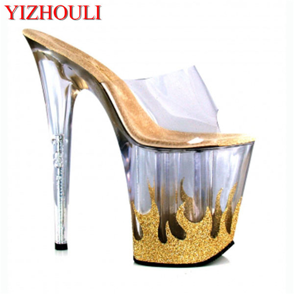 20cm High-Heeled Platform Sandals Flame Sexy Shoes Material 8 Inch High Heels 4 Inch Platforms Stripper Shoes