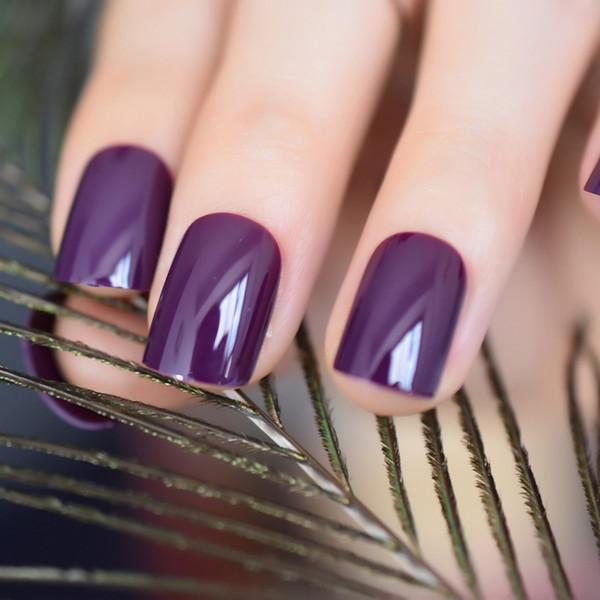 Compre Cuadrados Violeta Oscuro Falso Falso Puntas De Las Uñas De Color Morado Oscuro Acrílico Uv Nails Art Manicura De La Decoración Del Salón