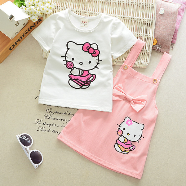 2PCS Toddler Kids Baby Girls Outfits T-shirt Tops+Skirt Overalls Strap Dress Outfits Set Clothes