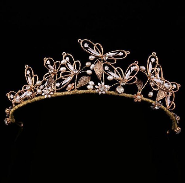 Baroque Bridal Headdresses Butterfly Retro Fresh Hairband Smart Bridal Jewelry Wedding Hair Accessories