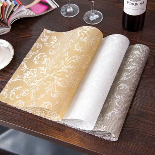 Venda por atacado- 4pcs / set Placemat Moda pvc mesa de jantar quadrada Placemats Coasters impermeável toalha de mesa Pad Slip-resistente Pad