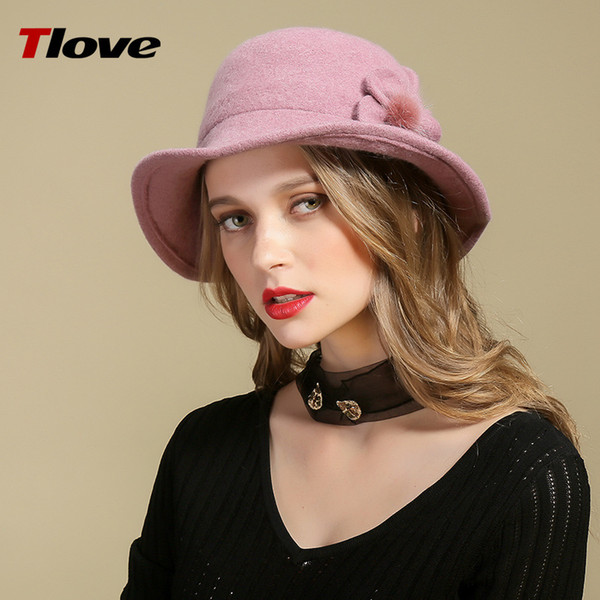 Lady Fedoras Wool Hat Female Woolen Dome Hats New Fashionable Flower Fisherman Soft Warm Cloth Cap Adjust B8984