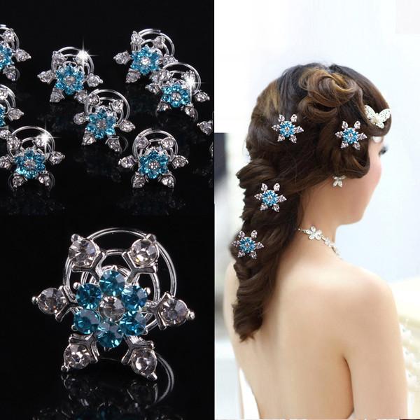 12 adet / grup Gelin Rhinestone Kar Tanesi Spiral Saç Klipler Kızlar için Güzel Mavi çiçek Tokalar Başlığı düğün Saç Aksesuarları Takı