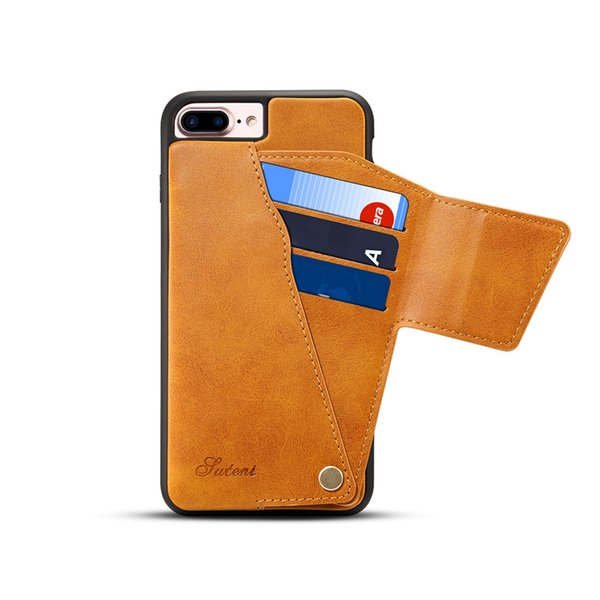 Luxury Rotating Flip Leather Case for iPhone 7 8 Plus Card Slot Back Case Vintage PU Leather Cover for iPhone 6 6S Plus