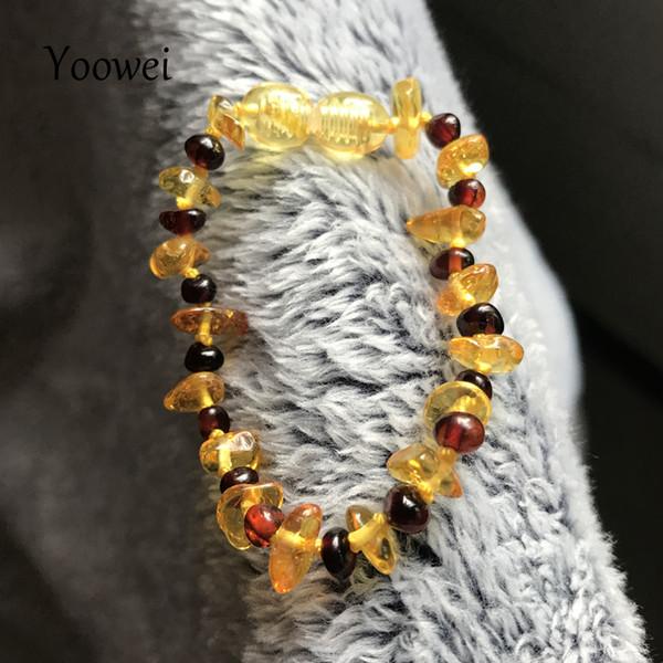 Yoowei Baby Ambre Bracelet Pierre Gemme Naturelle Irrégulière D'or Ambre avec Perle De Cerise Adulte Baltique Bijoux Pulsera En Gros