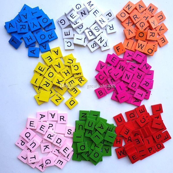 best selling 100pcs set Wooden Alphabet Scrabble Tiles 16 colors Letters & Numbers For Crafts Wood C3360