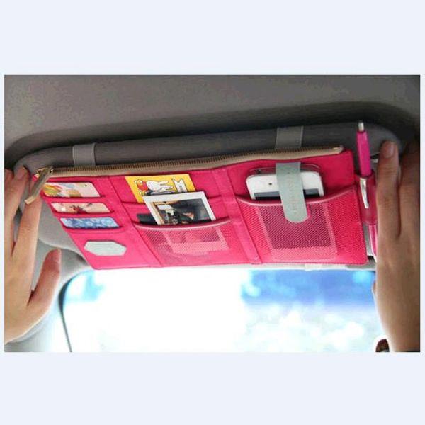 Car Sun Visor Receive Bag Car Boot Organiser Storage Bag Box Multi-Use Tools Organizer for Fuel Card Mobile Phone