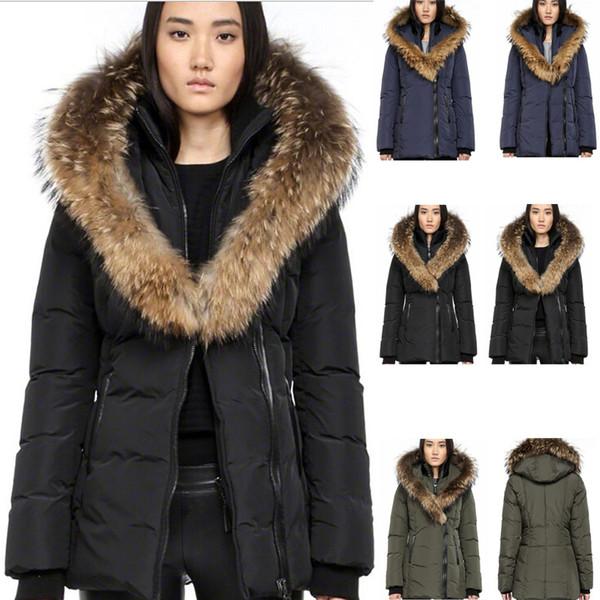 캐나다 여성 브랜드 맥 F4 Adali 적합 너구리 모피 칼라 Women 's Down 파커 코트 자켓 여성용 아웃 도어 -20도 차가운 온기