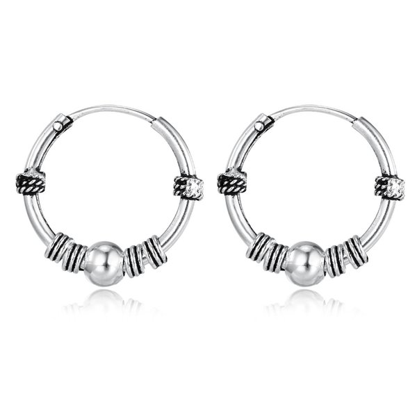 European Vintage Silver Color Hoop Earrings Circle Handmade Cool Small Hoop Earring For Women Bijoux Bijoux Fashion Jewelry